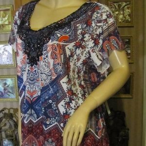 Apt.9 Navy Blue ,Red & White Top size 2X
